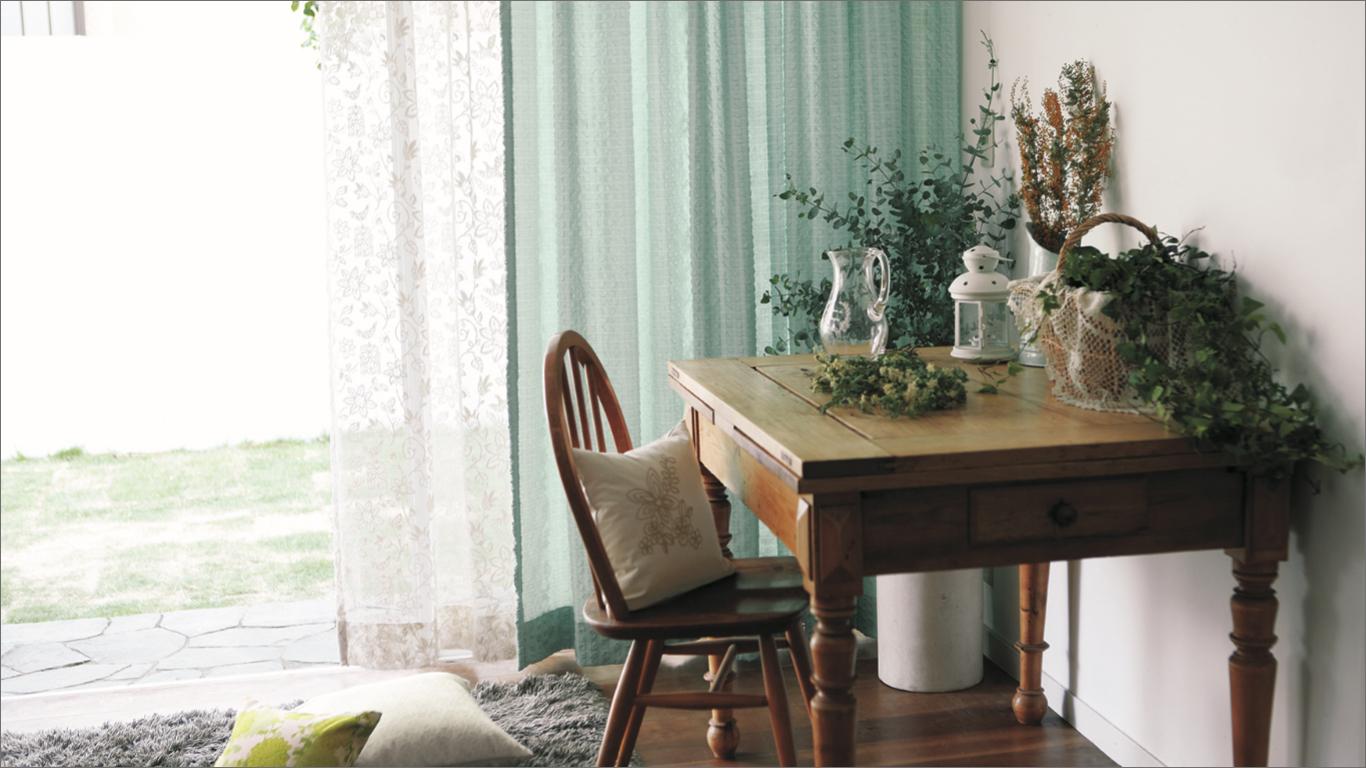 緑色カーテン